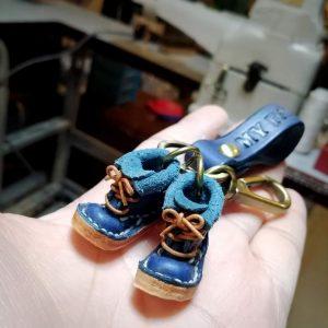 泰國客製手工皮革迷你靴鑰匙圈(寬版錶帶)